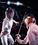Fencing sport for women epee fencer. Stock Photography