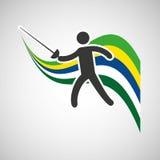 Fencing sportsman flag background design Royalty Free Stock Photo
