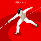 Fencing Summer Games Icon Set.3D Isometric Gymnast.Sporting Championship International Competition. Royalty Free Stock Photos