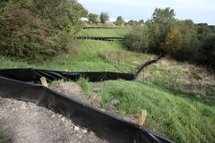 Fencing to catch reptiles. Chasewater, Staffordshire Stock Photos