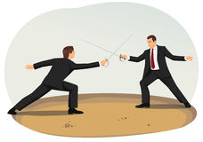 Fencing. Two businessmen are fencing. Market competition and commercial disputes Royalty Free Stock Photo