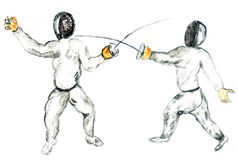 Fencing in Watercolors. Grunge watercolor sketch of two fencers, hand drawn illustration Stock Photography
