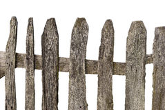 Fencing white background. Old wooden fence isolated on white background Royalty Free Stock Photography
