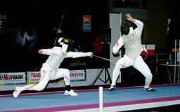 Fencing. World cup 2010. Royalty Free Stock Photos