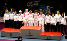Fencing. World cup 2010. Saint-Petersburg Royalty Free Stock Photo
