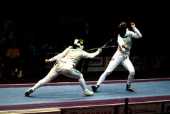Fencing world cup 2010 Shanaeva vs Eriggo Arianna Royalty Free Stock Image