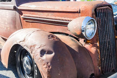 Fender and Headlight of Old Rusty Pickup. ATLANTA, GEORGIA - July 3, 2016: Caffeine and Octane is a nationally recognized car show held monthly, displaying Royalty Free Stock Photography