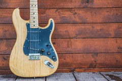 Fender stratocaster wooden electric guitar. PRAGUE, CZECH REPUBLIC - MAY 24, 2014: Fender stratocaster wooden electric guitar, product shot Stock Photo