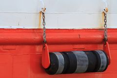 Fenders on board the boat close up. Royalty Free Stock Photography