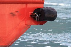 Fenders in the bow boat close-up. Royalty Free Stock Photo