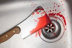 Fendoir et sang dans l'évier Image stock