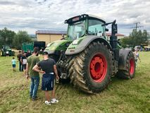 Fendt top model 1050 Vario at tractor exhibition. Stuttgart, Germany - July 23, 2017: German tractor manufacturer Fendt is exhibiting its latest top model 1050 Royalty Free Stock Photography