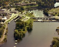 Fenelon Falls Locks. This image is an aerial photograph of the Trent Severn Locks on the Trent Severn Waterway in Ontario, Canada, that runs from Georgian Bay Royalty Free Stock Photography