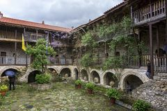 Feneos, Peloponnese / Greece - April 10 2016: The backyard of the St. George`s monastery located in Feneos village stock photos