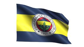 Fenerbahce flag is waving. On transparent background. Seamless loop stock video