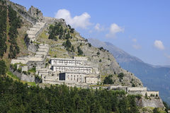 Fenestrelle fort - 1728-1850 - Italy. View of the Fenestrelle fort. It is the biggest alpine fortification in Europe whit a surface area of 1,300,000 m². Built Royalty Free Stock Photos
