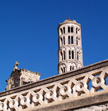 Fenestrelle Tower, Saint-Theodorit Cathedral in Uzes. Fenestrelle Tower - Window Tower in Uzes, Gard, France Royalty Free Stock Photo