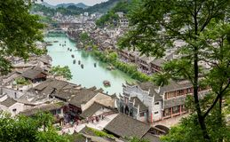 Feng huang ancient town from above stock photography
