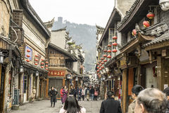 Feng Huang is the most famous Ancient town. FENGHUANG, CHINA - DEC 31: Feng Huang is the most famous Ancient town in Hunan province, China on December 31, 2016 stock images