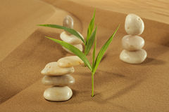 Feng Shui. Elements feng shui for a relaxation and concentration of ideas on sand stock photo