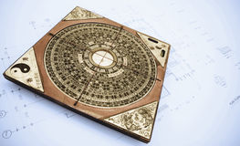 Feng shui. Antique chinese compass for  feng shui Stock Image