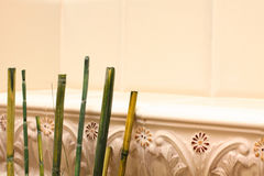 Feng shui background with green bamboo Royalty Free Stock Images