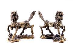 Feng Shui. Bronze stellt Qilin dar Lizenzfreie Stockfotos