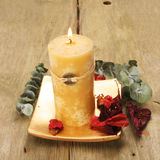 Feng Shui candle. And pot pourri Royalty Free Stock Image