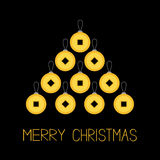 Feng shui Chinese coin with hole. China gold money spruce fir tree. Merry Christmas ball. Flat design. Black background Greeting c Royalty Free Stock Image