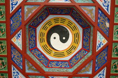 Feng Shui - Chinese sign. Colorful ceiling inside Chinese temple, showing popular Feng Shui sign, balance between wind and water Stock Image