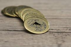 Feng Shui coins. Close up shot of golden feng shui coins Royalty Free Stock Photos