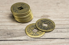 Feng Shui coins. Close up shot of golden feng shui coins Royalty Free Stock Image