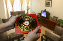 Feng shui compass. On hand royalty free stock photo