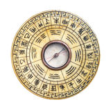 Feng Shui Compass Isolated. Feng Shui compass showing ba gua wheel with trigrams and Chinese signs engraved on bone; isolated on white background royalty free stock photos
