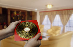 Feng shui compass. Traditional - feng shui compass on hand Royalty Free Stock Image