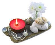 Feng shui composition with red candle Royalty Free Stock Photos
