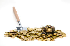 Feng Shui Frog sitting on the heap of coins Stock Photography