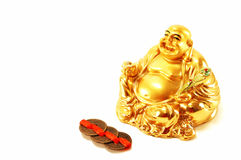 Feng Shui. God of wealth Hott. God of wealth Hott isolated on a white background with Chinese coins stock images