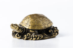Feng shui golden metal turtle on white Royalty Free Stock Photos