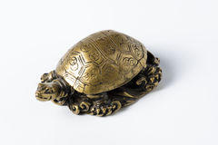 Feng shui golden metal turtle on white. Feng shui golden metal turtle for decoration Royalty Free Stock Photos