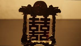 Feng-shui Hieroglyphe für Glück stock footage