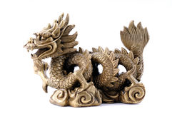 Feng Shui. Imperial Dragon. Feng Shui. Golden Chinese Imperial Dragon with Pearl, isolated on white Royalty Free Stock Images
