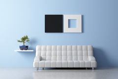 Feng shui interior. Modern Feng shui inerior with sofa and bonsai Stock Image