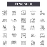 Feng shui line icons for web and mobile design. Editable stroke signs. Feng shui  outline concept illustrations vector illustration