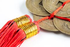 Feng shui lucky coins stock photo