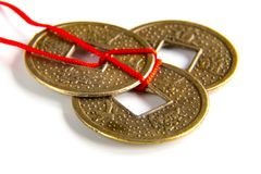 Feng shui lucky coins Royalty Free Stock Image