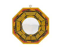 Feng shui mirror wood baqua isolated. Traditional chinese feng shui mirror wood baqua isolated Royalty Free Stock Photo