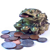 Feng Shui money frog. Surrounded by coins. Symbol of wealth and fortune Royalty Free Stock Photography