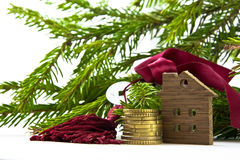 Feng Shui: one coin and the key on the background branches fir g Royalty Free Stock Images