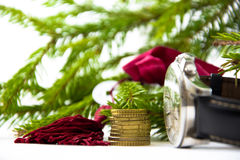 Feng Shui: one coin and the key on the background branches fir g Stock Photo